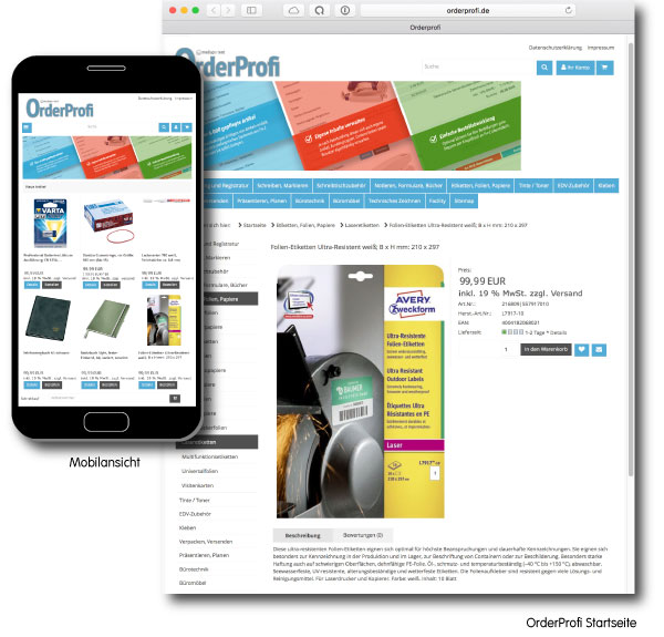 OrderProfi Online-Shop Screenshot